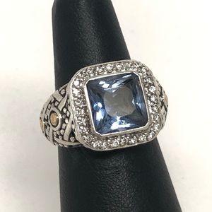 John Hardy Batu Sari Blue Topaz Ring 925/18K